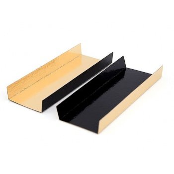 Mono Portion Folding Boards Heavy Cardboard Gold / Black - Rectangular - 200 pcs - 130x45mm - 5''x 1.77''