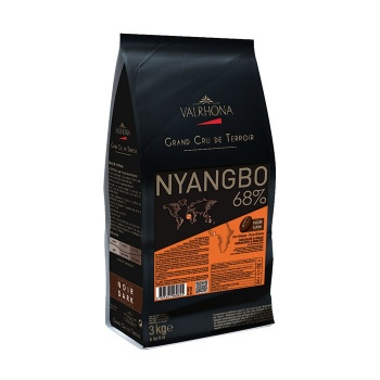 Valrhona Single Origin Grand Cru Chocolate Nyangbo 68% cocoa 31% sugar 44.1% fat content  - 3Kg  - Feves