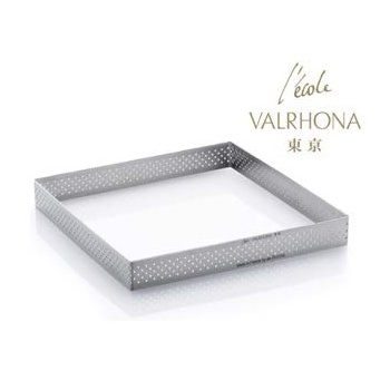 De Buyer L'Ecole Valrhona Stainless Steel Perforated Tart Ring - 3/4'' High Square L. 6 7/8''