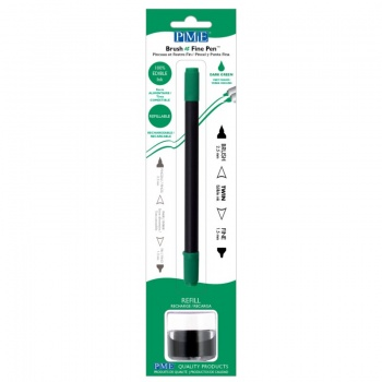 PME Brush & Fine Refillable Edible Pen with 8g Refill Jar - Dark Green