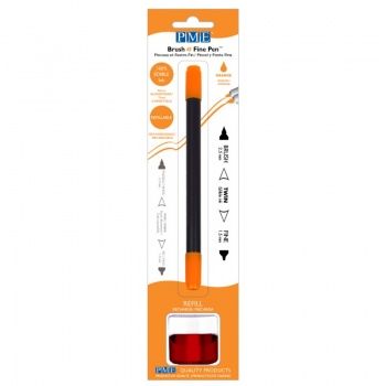 PME Brush & Fine Refillable Edible Pen with 8g Refill Jar - Orange