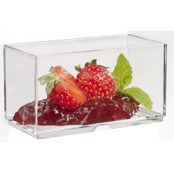 Plastic Mini Dishes WALL transparent - 2.4 oz 2.8'' x 1.4'' x 1.4'' - 200pcs
