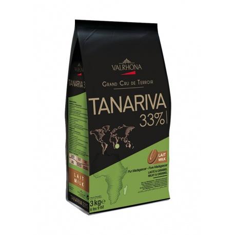 Valrhona Single Origin Grand Cru Chocolate Tanariva 33% cocoa 38% sugar 35.4% fat content 28% Milk  - 3Kg  - Feves