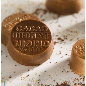 Polycarbonate Chocolate Mold 100% Origin Cacao - 30x30x12 mm - 3x7 pc/10 gr - 275x135x24 mm