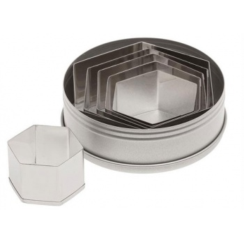 Ateco Plain Hexagon Stainless Steel Cookie Cutter Set -6pcs