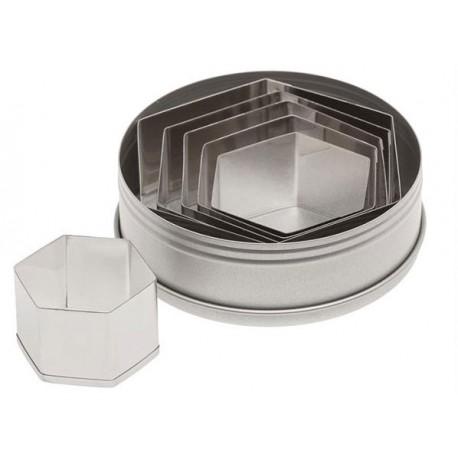 Ateco Plain Hexagon Stainless Steel Cookie Cutter Set -6pcs