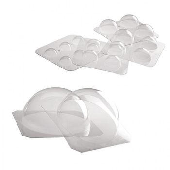 Thermoformed Hemispheres Chocolate Mold - 4 pcs Kit -Ø 50 mm, Ø 65 mm, Ø 75 mm, Ø 90 mm