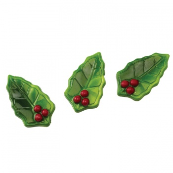 Matfer Bourgeat Polycarbonate Chocolate Mold - Holly Leaves - 14 Cavities