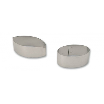 Matfer Bourgeat Stainless Steel Nonette Small Pastry Rings - Oval Pointed 3.5''x1.75''x1.25'' - Pack Of 4