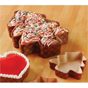 Albero Large Christmas Tree Paper Loaf Cake Mold - 12 1/4''x9 1/2''x2 3/8''- 320 pcs