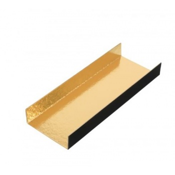 Black / Gold Long Rectangle Foldable Monoportion Board - 13 x 4.5 cm - Gold Inside