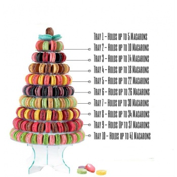 Clear Pyramid Display for Macarons - Holds up to 237 Macarons - Ht 46 cm - Ø base 33 cm.