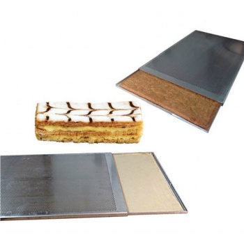 Double Sliding Perforated Aluminium Baking Sheet for Puff Pastry - 60 x 40 cm - Perforations Ø 3mm