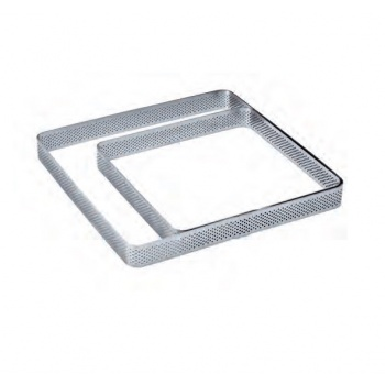 Microperforated Stainless Steel Square Tart Ring Rounded Corners 15 x15 cm - 3/4'' H