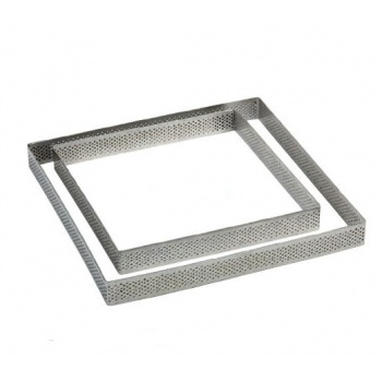 Microperforated Stainless Steel Square Tart Ring Height: 3/4'', 7.6''x7.6''