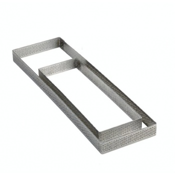 Microperforated Stainless Steel Rectangular Tart Ring Height: 3/4'', 3.2''x7.6''