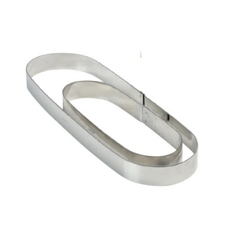 Stainless Steel Oval Tart Ring Height: 3/4'', 2.33''x7'' - Insert for the XFO197020