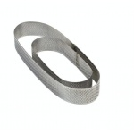 Microperforated Stainless Steel Oval Tart Ring Height: 1.4'', 3.5''x11.5''