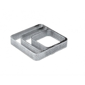 Pavoni Microperforated Stainless Steel Tart Ring Square with Rounded Corners - 6.5x6.5 cm