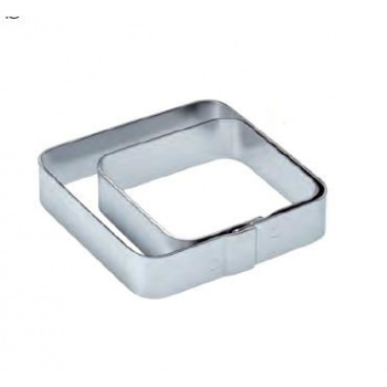 Pavoni Stainless Steel Tart Ring Square with Rounded Corners - 7x7 cm - 2 cm Height