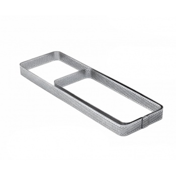Microperforated Stainless Steel Rectangular Tart Ring Rounded Corners Height: 3/4'', 3.1''x7.48''