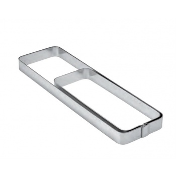Pavoni Stainless Steel  Smooth Rectangular Rounded Corder Tart Ring 18cm x 6cm x 2cm - 7''x2.36''x0.75'' - Insert for the XF07