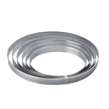 Microperforated Stainless Steel Round Tart Rings Height: 3/4'' Diam: 6.8''