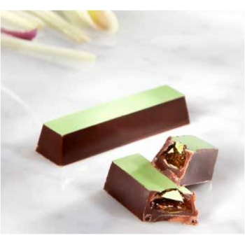 Magnetic Polycarbonate Chocolate Mold Modern Straight Rectangular Bar - 80x13x10 mm - 1x10 pc - 11gr - 275x135x24 mm