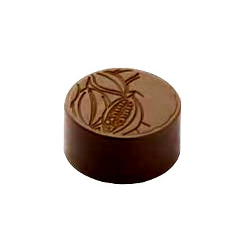 Polycarbonate Chocolate Mold Round Cocoa Bean - Ø28x13 mm -9 gr - 3x8 cav -135x275x24mm