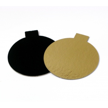 Round Monoportion Double Sided Gold / Black Cake Board 3-1/8'' - 200 pcs