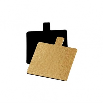 Square Monoportion Double Sided Gold / Black Cake Board 2.3''x2.3'' - 6cmx6cm - 200 pcs