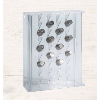 Large Plexiglass Pastry Tips Storage Display - Holds 32 Medium Or Large Tubes