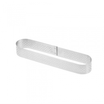 De Buyer L'Ecole Valrhona Stainless Steel Perforated Tart Ring - Oval 5 3/4'' x 1 3/8'' - 3/4'' High