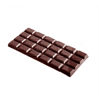 Polycarbonate Chocolate Bar Mold - 156x77x8 mm - 3 pcs - 80 gr - 275x175x24 mm