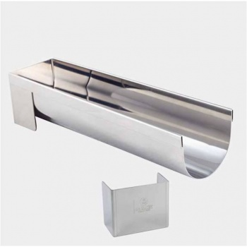 De Buyer Stainless Steel Insert Log Mold with removable ends - Half Cylinder Insert - 30 x 4.4 x 4 cm