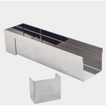 De Buyer Stainless Steel Square Log Mold with removable ends - Square Bottom - 30 x 8 x 6.5 cm