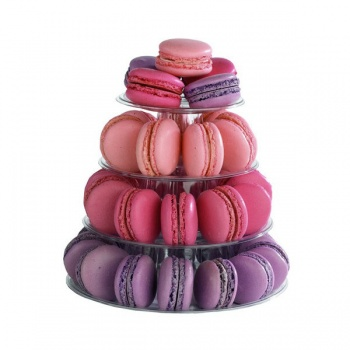 Small Clear Macarons Pyramid Holder - Holds 35-40 Macarons - Height: 20 cm - Base: Ø 18 cm - Pack of 6