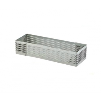 Stainless Steel Rectanglee Perforated Tart Ring 12 x 4 cm - 2 cm High