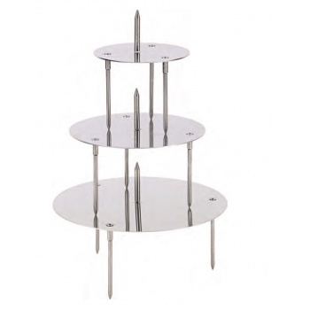 Stainless Steel French Style Wedding Cake Display - 3 Trays for 4 Levels Cakes - 28/22/14 cm