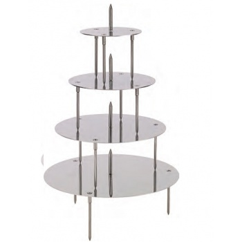 Stainless Steel French Style Wedding Cake Display - 4 Trays for 5 Levels Cakes - 32/28/22/14 cm