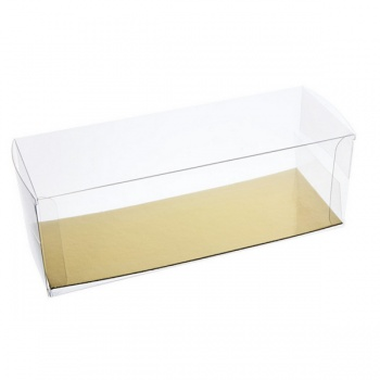 Clear Rectangle Plastic box for Cake with Gold Cakeboard - 25 x 9 x 9 cm - Pack of 10