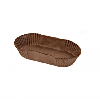 Oval Brown Éclair Paper Holder Cup - 105 x 40 x 25 mm - Pack of 1200pcs
