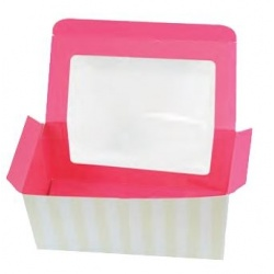 Cupcake Box with Window and Insert for 2 Standard Cupcakes 17 x 8.5 x 8.5 cm - Pack of 6