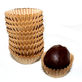 Glassine Chocolate Candy Cups No.4 - 1''x3/4'' - Natural Kraft - 300pcs