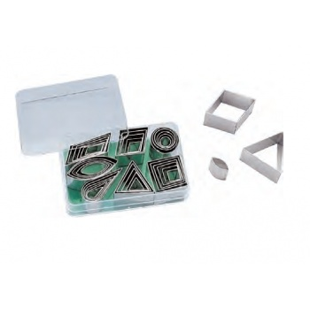 Mini Geometric Shapes Cutter Set - 42 pcs - Tinplate - High 1.8 cm