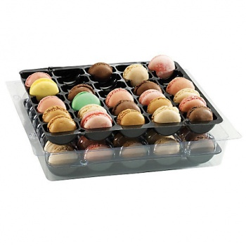 Plastic Macarons Storage Box - Holds 35 Macarons - 250 x 220 x 50 mm - Pack of 25
