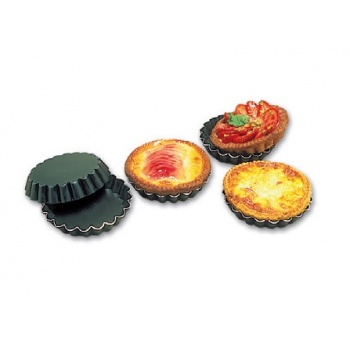 Matfer Bourgeat Aluminum Non-Stick Fluted Quiche Mold 4 1/3'' x 3/4'' - 12 pack