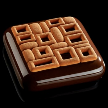 Pavoni Silicone Top Decoration Molds for Entremets - MAYA - 135 x 135 x 7 mm - Vol: 90 ml - 2 Cavity