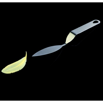 Pavoni FLYCHOC Small Stainless Steel Offset Chocolate Leaf Making Tool - Thin Leaf - 23 x 80 mm