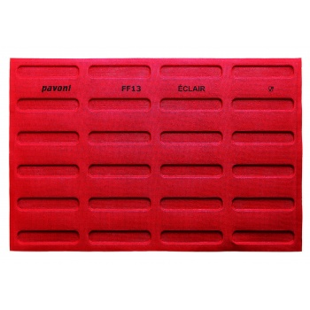 Pavoni Microerforated Eclair Silicone Mat for Dropping Machine - 600 mm x 400 mm - 24 Indents - 125x25x5 mm